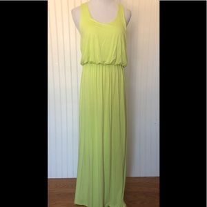 LUSH neon lime green racer back maxi dress
